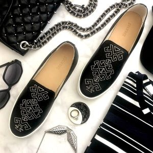 Soludos Black Geometric Embroidered Sneakers